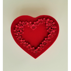 Red Velvet Heart Shaped Box with Red Flowers