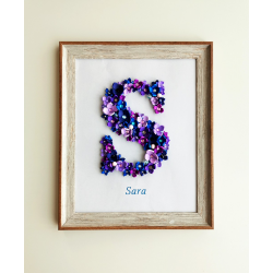 Flower Letter Personalized Frame - Girls Bedroom Décor (Medium)