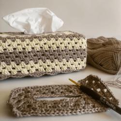 Crochet Tissue Box Cover With Gold Flecks