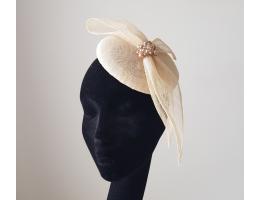 Ladies Cream Pillbox Hat