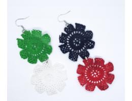 UAE National Day Crochet Round Flowers Earrings
