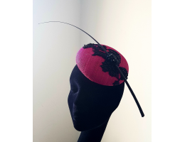 Pink & Black Lace Pillbox Hat