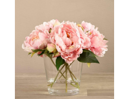 Pink Peony Arrangement in Glass Vase