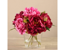 Purple Peony Arrangement in Glass Vase