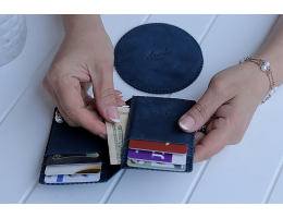 SHAHEEN Stormy Ocean Blue Card Holder