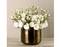 White Rose Arrangement In Copper Vase