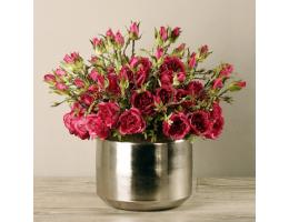 Red Rose Arrangement In Silver Vase
