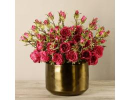 Red Rose Arrangement In Copper Vase