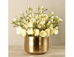 Yellow Rose Arrangement In Gold Vase