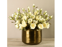 Yellow Rose Arrangement In Copper Vase