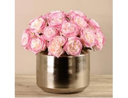 Pink Rose Arrangement In Sliver Vase