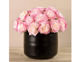 Pink Rose Arrangement In Black Vase