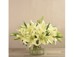 Cream Artificial Lily in Glass Vase