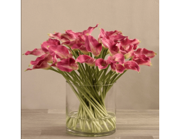 Pink Artificial Calla Lily in Glass Vase