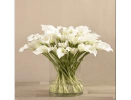 White Artificial Calla Lily in Glass Vase