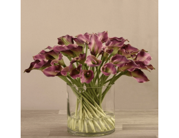 Purple Artificial Calla Lily in Glass Vase
