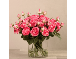 Dark Pink Rose Arrangement In Glass Vase