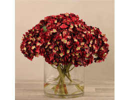 Red Artificial Hydrangea in Glass Vase