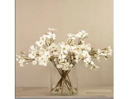 White Artificial Dogwood Arrangement in Glass Vase