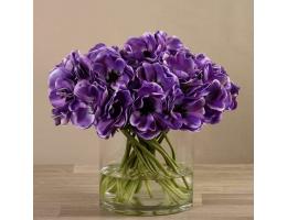 Purple Artificial Anemone in Glass Vase