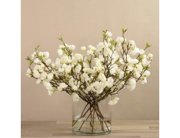 White Artificial Cherry Blossom in Glass Vase
