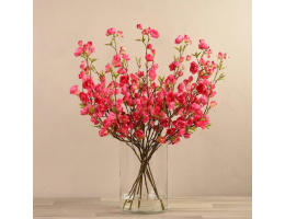 Pink Artificial Cherry Blossom in Glass Vase