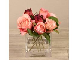 Mixed Pink Rose Arrangement in Glass Vase