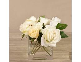 Mixed White Rose Arrangement in Glass Vase