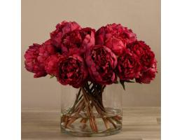 Red Peony Arrangement in Glass Vase