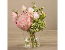 Pink Protea Arrangement in Glass Vase