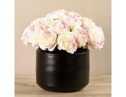 White Rose Arrangement In Black Vase