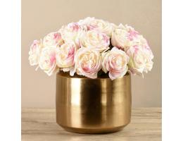 White Rose Arrangement In Gold Vase