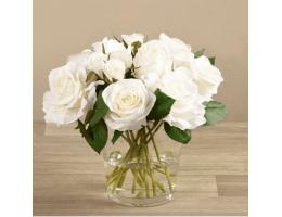 White Rose Arrangement in Round Glass Vase