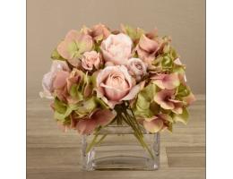 Mixed Flower Arrangement in Square Glass Vase