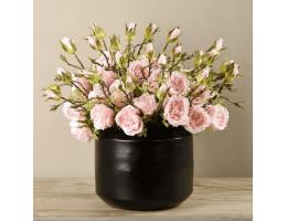 Pink Rose Arrangement In Black Vase