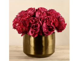 Red Peony In Copper Vase
