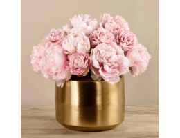 Pink Peony In Gold Vase