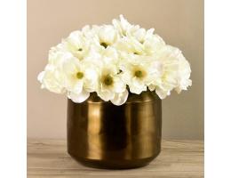 White Anemone In Copper Vase