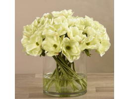Green Artificial Anemone in Glass Vase