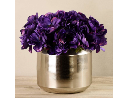 Purple Anemone In Silver Vase