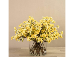 Yellow Blossom Spray in Glass Vase