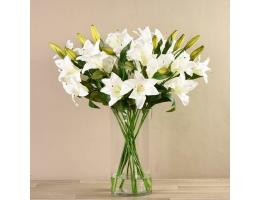 White Artificial Lily Arrangement in Glass Vase