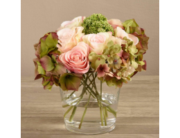 Mixed Flower Arrangement in Round Glass Vase