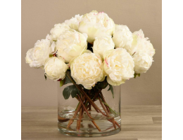 White Peony Arrangement in Glass Vase