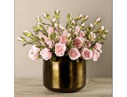 Pink Rose Arrangement In Copper Vase
