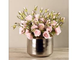 Pink Rose Arrangement In Silver Vase