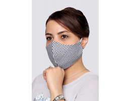 Navy Squares - 100% Cotton Washable Mask