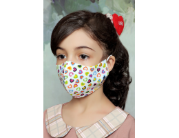 Colorful Hearts - 100% Cotton Washable Mask