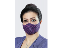 Navy With Pink Circles - 100% Cotton Washable Mask