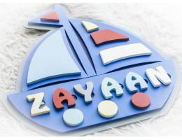 Customized Name Puzzle/Sign - Boy (Nautical Theme)